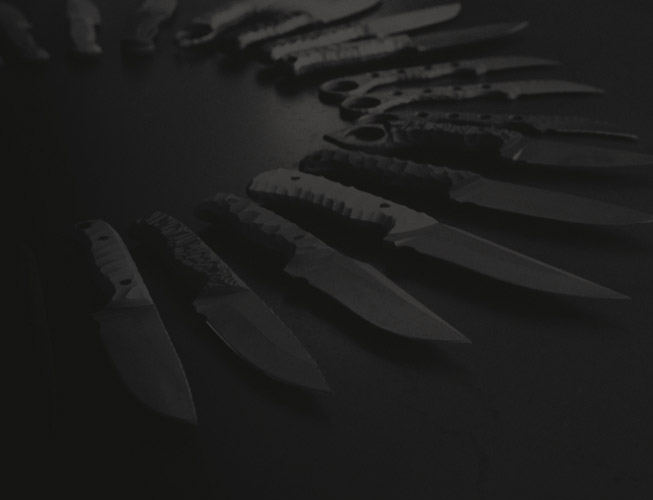 A range of handcrafted knives
